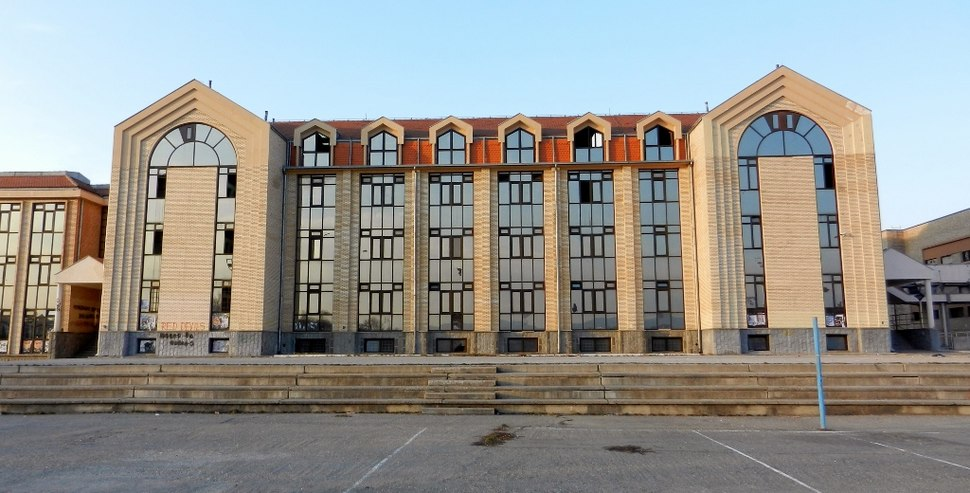 Druga Gimnazija Kragujevac - Veroljub Atanasijevic Arhitect 1997, detail of the facade, rear facade