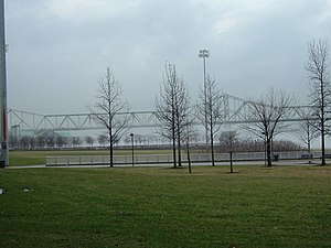 Louisville Waterfront Park - The Clark Memorial Bridge viewed from Waterfront Park