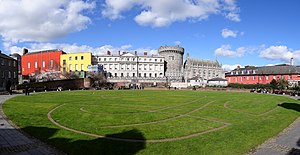 Dublin Castle - Dublin Castle, seen from the park to the south, outside the walls