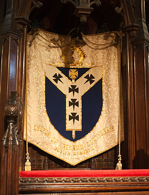 Diocese of Dublin and Glendalough - Standard of the Diocese of Dublin and Glendalough at the Archbishop's throne in Christ Church Cathedral