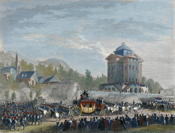 King Louis XVI returns to Paris after his attempted flight (June 25, 1791) Duplessi-Bertaux - Arrivee de Louis Seize a Paris 2.png