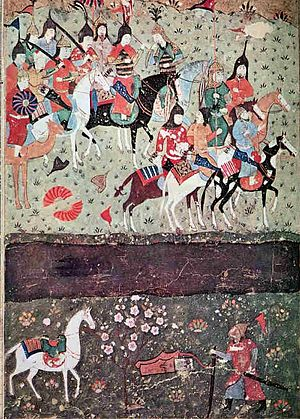 Battle of Indus - Genghis Khan watches in amazement as the Khwarezmi Jalal ad-Din prepares to ford the Indus.