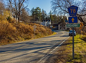Dutchess County Route 78 sign near Hudson River at Tivoli, NY.jpg