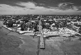 Duval Street - Duval Street, connecting the Atlantic Ocean to the Gulf of Mexico; taken from the air, south of the island.