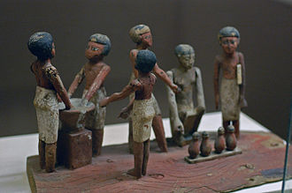 Beer - Egyptian wooden model of beer making in ancient Egypt, Rosicrucian Egyptian Museum, San Jose, California