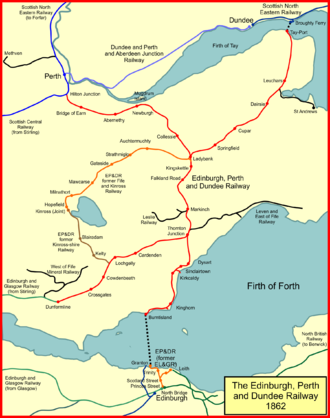 The Edinburgh, Perth and Dundee Railway system in 1862 EP&DR 1862.png