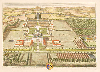 Eaton Hall, Cheshire - The estate showing the Samwell Hall in 1708. The former house can be seen in the bottom right corner.