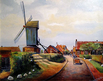 Ekel (Norden) - Old oil painting of the Ekel Mill in Norden, East Frisia
