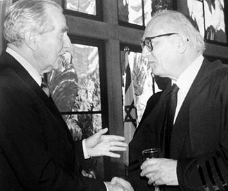 Menachem Elon - Candidates for President of Israel in 1983: Prof. Menachem Elon (coalition) and MK Chaim Herzog (opposition) in Beit HaNassi in Jerusalem