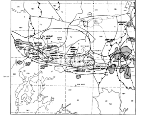Ruth, Nevada - Geologic structure map showing local mining operations with Ruth in the top center and Rib Hill in the bottom center.  Ruth Pit is to the right and the Veteran Pit is to the left.  The hatched area indicates traces of copper while the shaded area indicates traces of gold.
