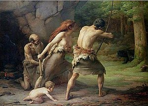 Prehistoric Man Hunting Bears