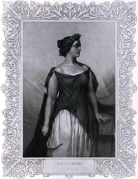"Giulia Grisi dressed as Norma. In 1831, she also sang the role of Adalgisa Engraved portrait of opera singer Giulia Grisi, dressed to perform ""Norma"" (1844).jpg"