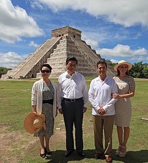 China–Mexico relations - Mexican President Enrique Peña Nieto and Chinese President Xi Jinping (and their wives) in Chichen Itza, Mexico during President Xi state visit to the country in June 2013.