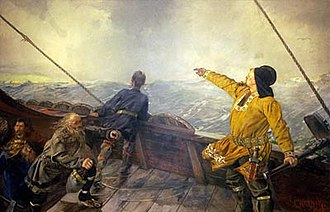 "Photoshop contest - Original painting ""Leif Eriksson Discovers America"" by Christian Krohg was subject for the Norwegian championship online manipulation contest."