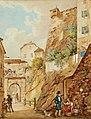 Ernst Welker - Das Steintor in Salzburg mit Figurenstaffage.jpg