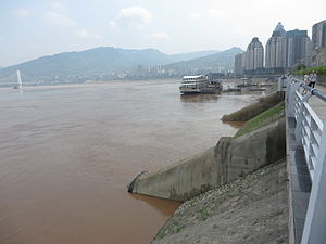 Baiheliang Underwater Museum - Escalator shafts down to the Baiheliang rock ledge in the Yangtze River at the museum.