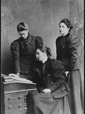 Esther Roper - Esther Roper (Seated), Edith Palliser (Left), Mrs. Blaxter (Right)