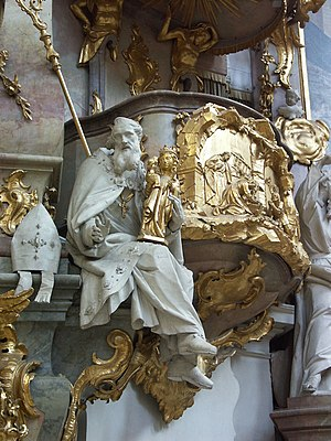 Ettal Abbey - Statue on the pulpit