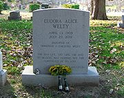 The headstone of Eudora Welty at Greenwood Cemetery in Jackson, Mississippi.