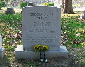 Eudora Welty - Welty's headstone at Greenwood Cemetery in Jackson, Mississippi