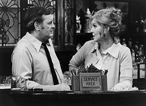 Eugene Roche - Roche with Anne Meara in a scene from The Corner Bar in 1973.