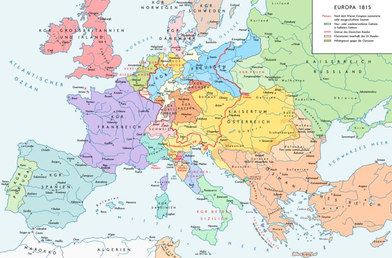 Europe 1815 map