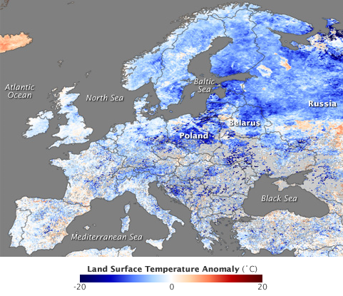 Europe Temperature Map 2009-12