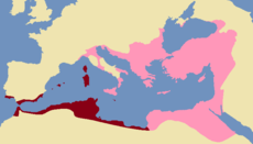 Maps of the Exarchates within the Roman Empire in 600 AD. The Exarchates of Ravenna (left) and Africa (right) were established by the Eastern Empire to better administer the reconquered Western territories.