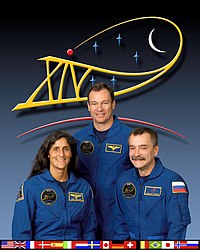 (v.l.) Sunita Williams, Michael Lopez-Alegria und Michail Tjurin