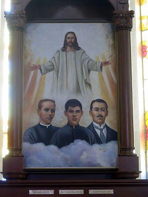Saints of the Cristero War - A shrine to Andrés Solá Molist, José T. Rangel Montaño, and Leonardo Pérez Larios in  the Santuario Expiatorio del Sagrado Corazón de Jesús (León, Guanajuato)