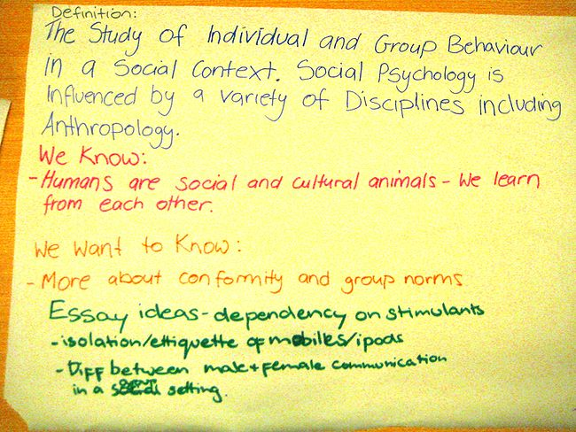social psychology psychology tutorials introduction wikiversity a full example of student responses to this exploring social psychology group exercise