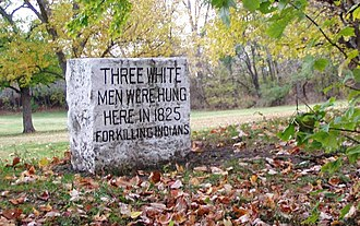 Fall Creek (Indiana) - Marker of the executions for the Fall Creek Massacre, in Fall Creek Park, Pendleton, Indiana