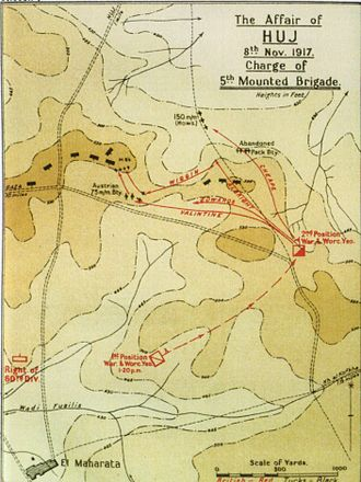 Charge at Huj - Falls Sketch Map 7 Charge of 5th Mounted Brigade