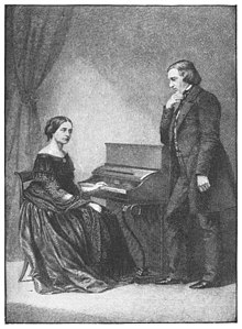 Drawing of a woman sitting at an upright piano and a man standing in front of the instrument, looking at her, with his right hand at his chin
