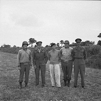 Courtney Hodges - The Allied Army commanders hold a conference in a hayfield in Northwest France. With General Sir Bernard Montgomery, commanding the Anglo-Canadian 21st Army Group, are Lieutenant General Courtney Hodges, commanding the U.S. First Army, Lieutenant General Harry Crerar, commanding the Canadian First Army, Lieutenant General Omar Bradley, U.S. 12th Army Group, and Lieutenant General Miles Dempsey, commanding the British Second Army.