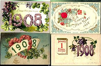 1908 in the United States - United States postcards for New Year 1908
