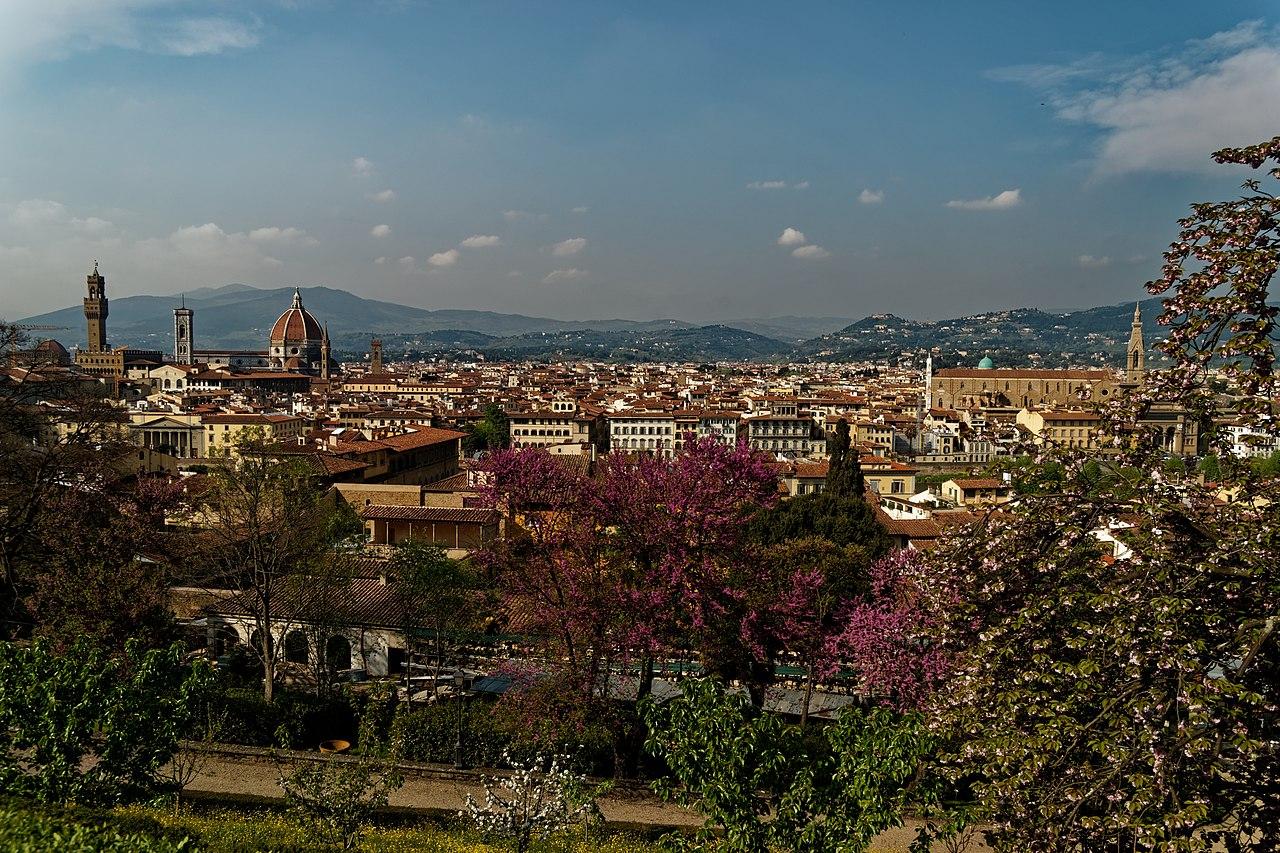 Florence, Giardino Bardini, view north towards Torre di Arnolfo, il Duomo e la Basilica di Santa Croce