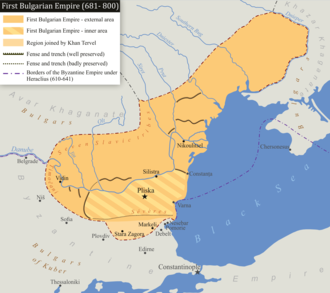 Tervel of Bulgaria - Bulgaria during the rule of Tervel. The territorial expansion of 705 can be seen on the map.