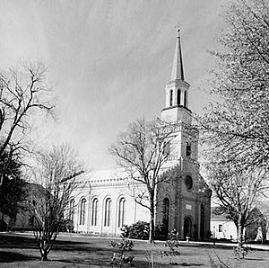Woodrow Wilson Boyhood Home - First Presbyterian Church, of Augusta, diagonally across, where Wilson's father preached