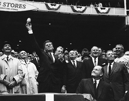 President Kennedy throws the first pitch of the 1962 baseball season at D.C. Stadium First pitch DC Stadium JFK.jpg