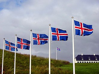 Flag of Iceland - Icelandic flags in Viðey