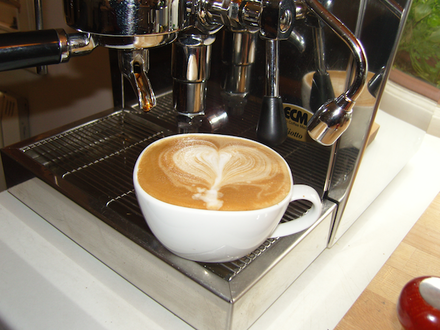 A flat white with latte art. Flat White Coffee.png