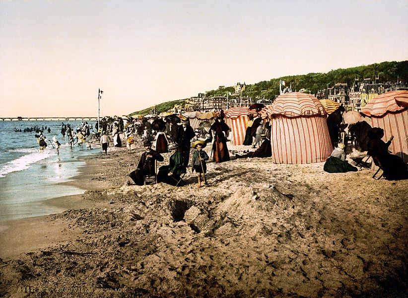 The beach at bathing time, Trouville, France.