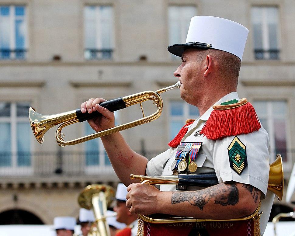 Foreign Legion bugler Bastille Day 2008