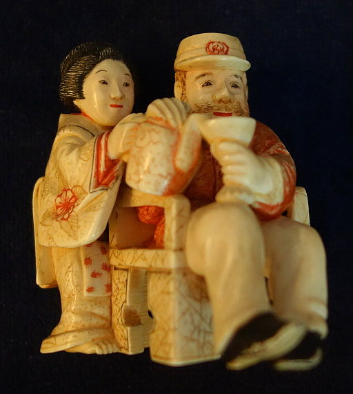 Foreigner with Japanese woman, okimoni by Tomoyuki, also called Ogura Kikutei, 1800s, ivory - Robert Hewson Pruyn collection - Albany Institute of History and Art - DSC08310