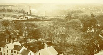 Yarmouth, Maine - Forest Paper Company (left) and Camp Hammond (right), viewed from the top of the Meeting House on Hillside Street, looking east over Main Street's intersection with Elm Street