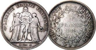 Liberté, égalité, fraternité - 5-franc piece, 1849