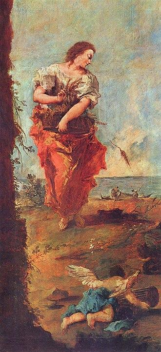 Hope - Allegory of hope; oil on canvas, Francesco Guardi, 1747