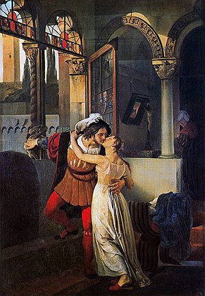 Romeo and Juliet - L'ultimo bacio dato a Giulietta da Romeo by Francesco Hayez. Oil on canvas, 1823.