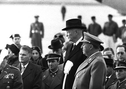 Franco with U.S. President Dwight D. Eisenhower in Madrid, December 1959 Franco eisenhower 1959 madrid.jpg